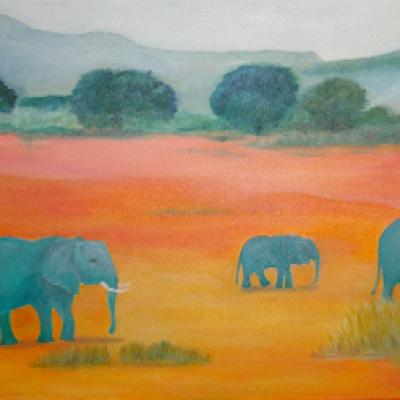 Elephants Walking (Unframed) - 520 cm x 920 cm SOLD