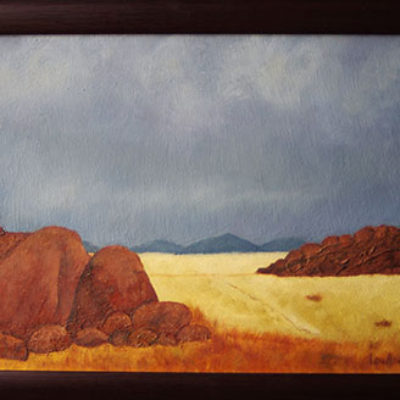 Namib Boulders - Oil and mixed media on board - size 310 x 395 R 1475.00