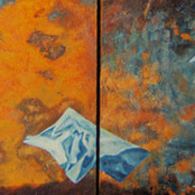 Release - Oil and mixed media on board - 300 x 800 - Sold